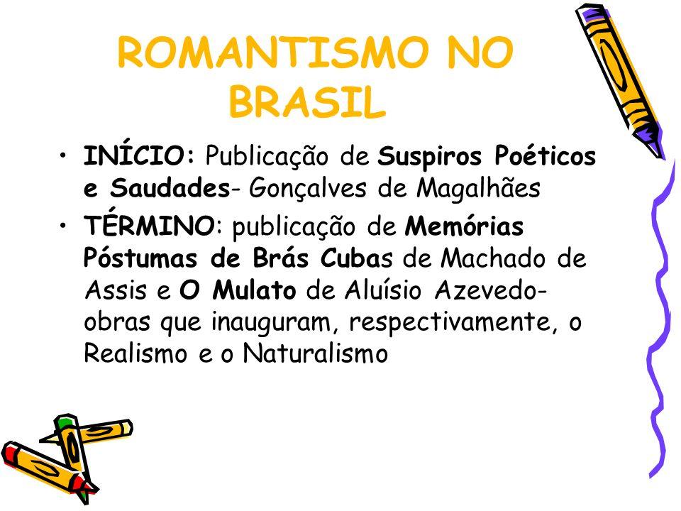 ROMANTISMO NO BRASIL INÍCIO: Publicação de Suspiros Poéticos e Saudades- Gonçalves de Magalhães.