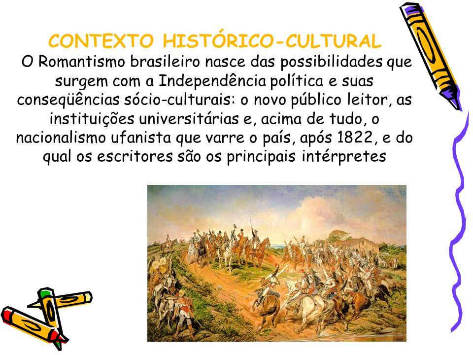 CONTEXTO HISTÓRICO-CULTURAL O Romantismo brasileiro nasce das possibilidades que surgem com a Independência política e suas conseqüências sócio-culturais: o novo público leitor, as instituições universitárias e, acima de tudo, o nacionalismo ufanista que varre o país, após 1822, e do qual os escritores são os principais intérpretes