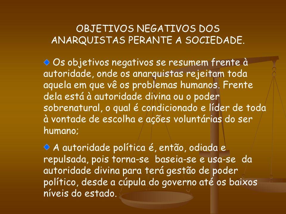 OBJETIVOS NEGATIVOS DOS ANARQUISTAS PERANTE A SOCIEDADE.