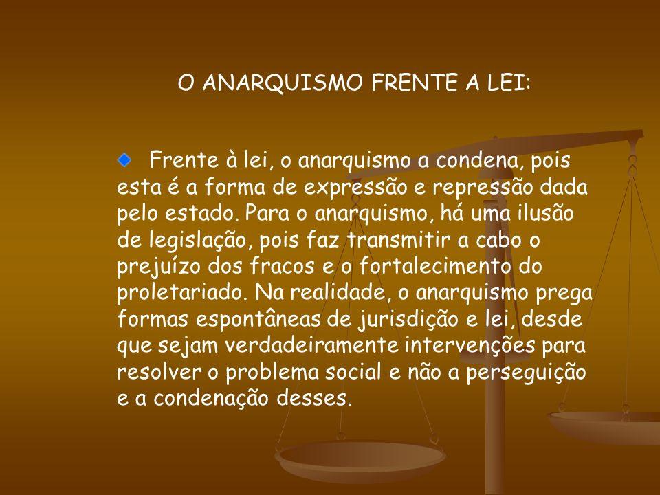 O ANARQUISMO FRENTE A LEI: