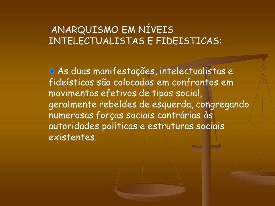 ANARQUISMO EM NÍVEIS INTELECTUALISTAS E FIDEISTICAS: