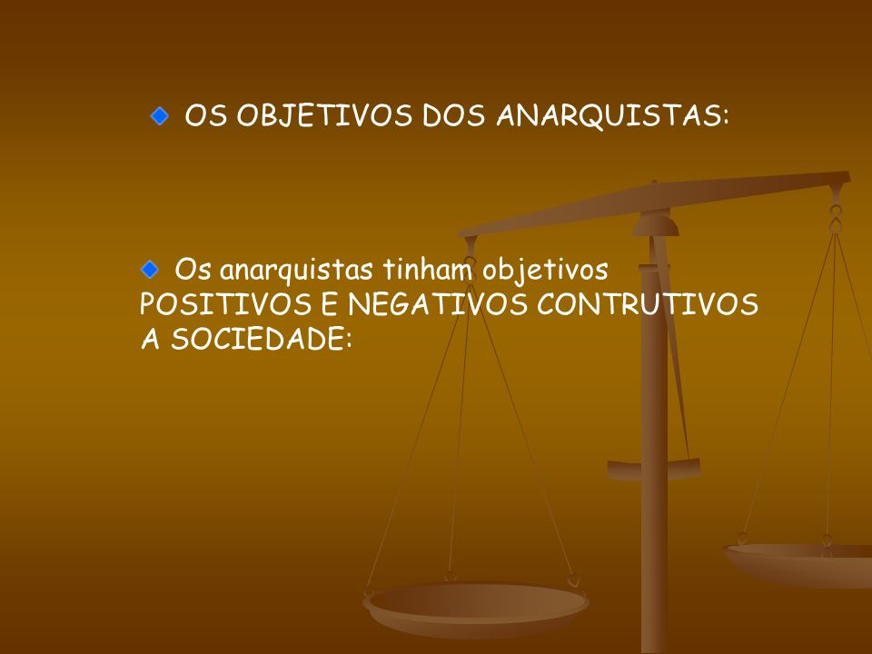 OS OBJETIVOS DOS ANARQUISTAS: