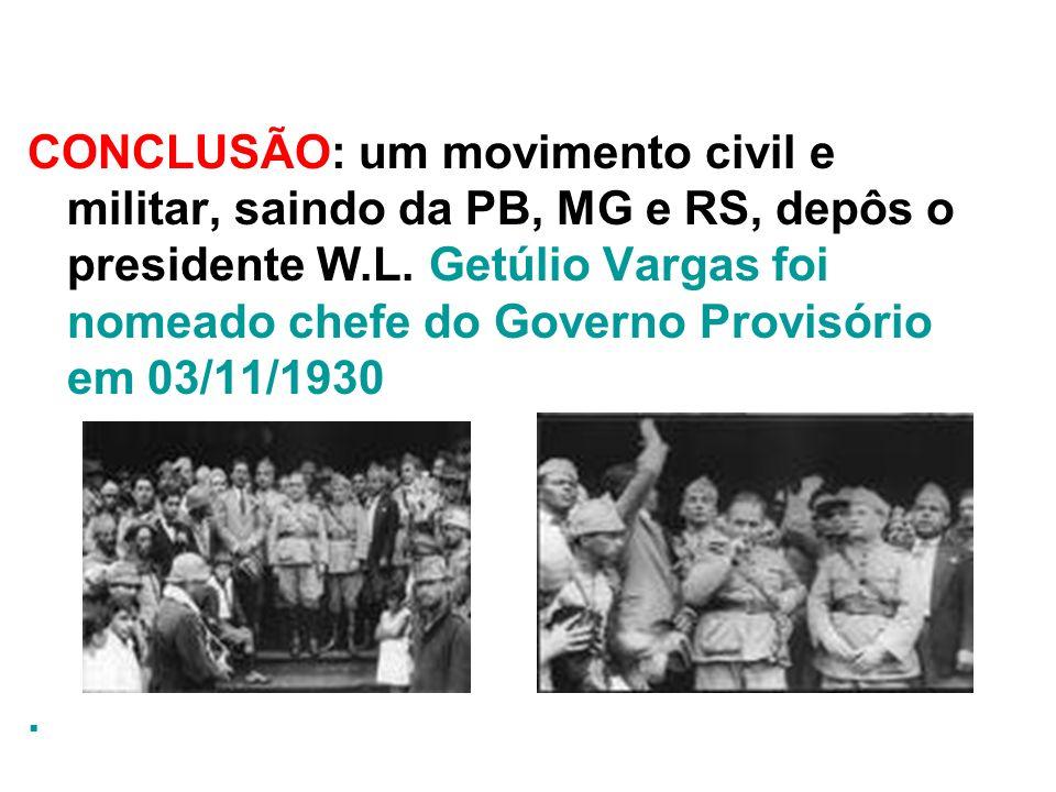 CONCLUSÃO: um movimento civil e militar, saindo da PB, MG e RS, depôs o presidente W.L. Getúlio Vargas foi nomeado chefe do Governo Provisório em 03/11/1930