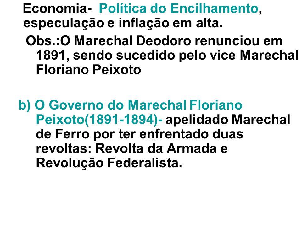 Economia- Política do Encilhamento, especulação e inflação em alta.