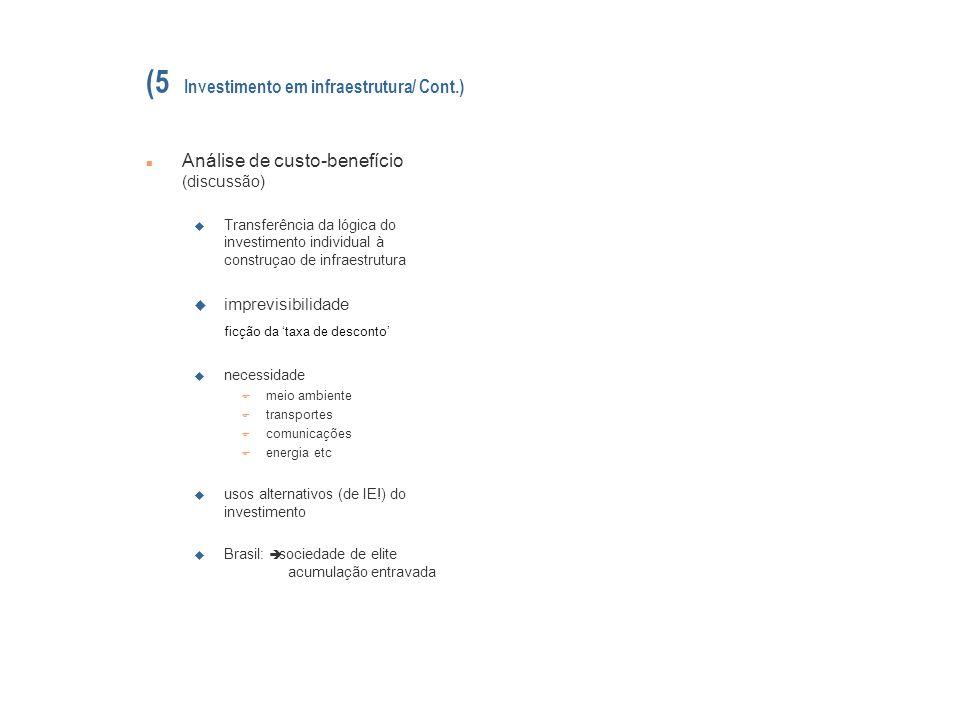 (5 Investimento em infraestrutura/ Cont.)