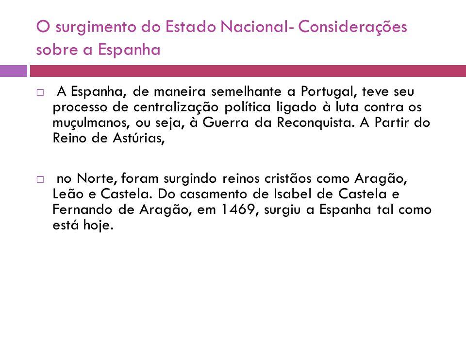 O surgimento do Estado Nacional- Considerações sobre a Espanha