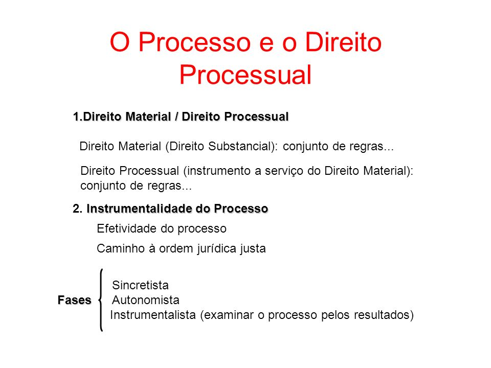 O Processo e o Direito Processual