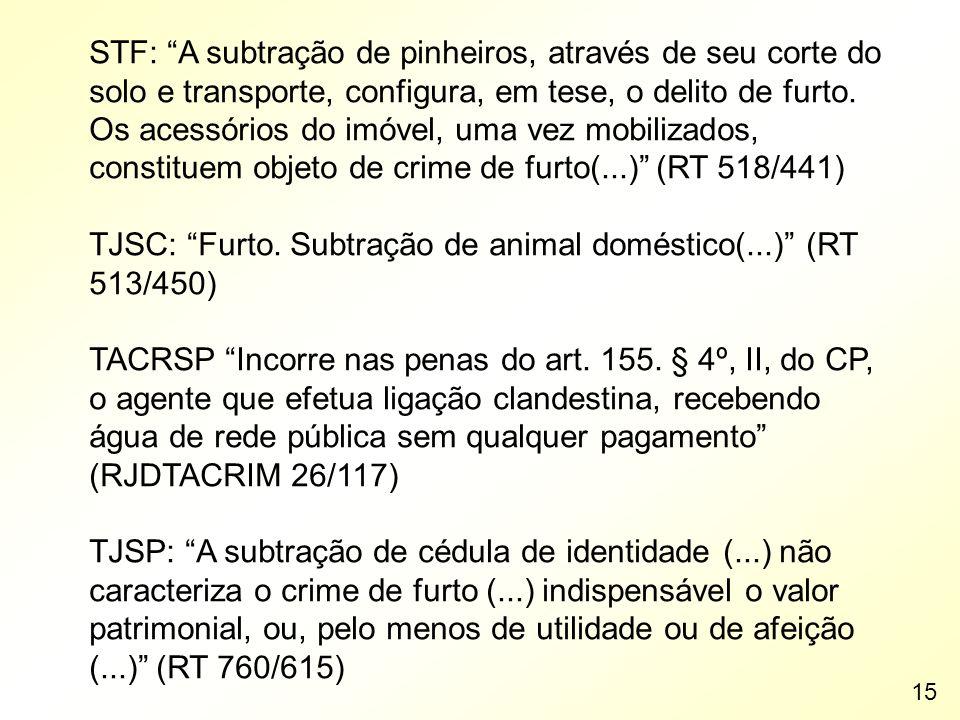 TJSC: Furto. Subtração de animal doméstico(...) (RT 513/450)