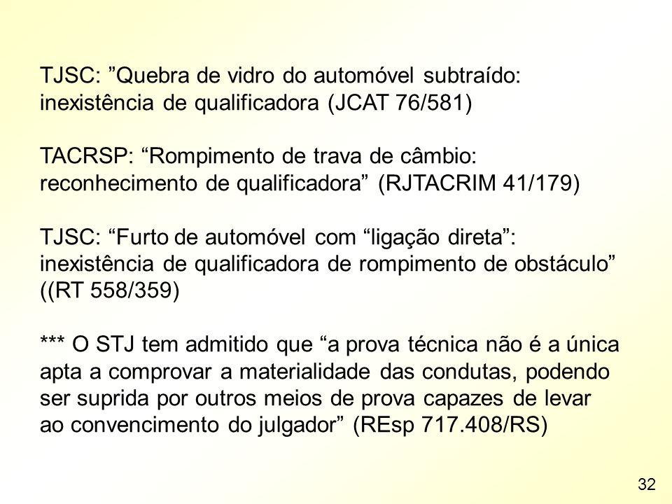 TJSC: Quebra de vidro do automóvel subtraído: inexistência de qualificadora (JCAT 76/581)