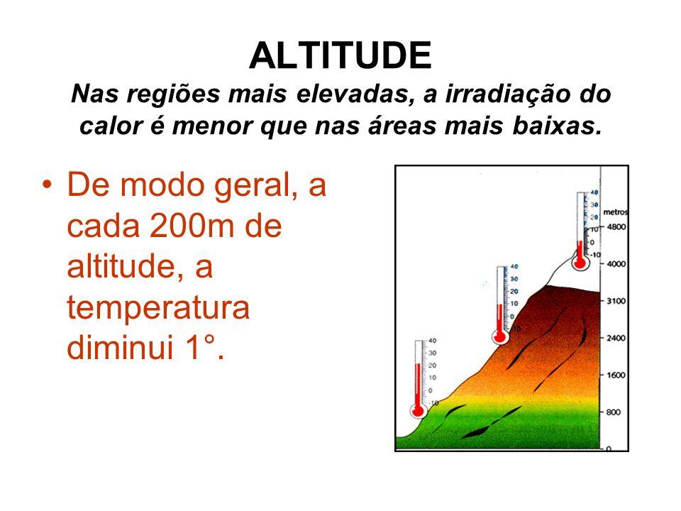 ALTITUDE Nas regiões mais elevadas, a irradiação do calor é menor que nas áreas mais baixas.