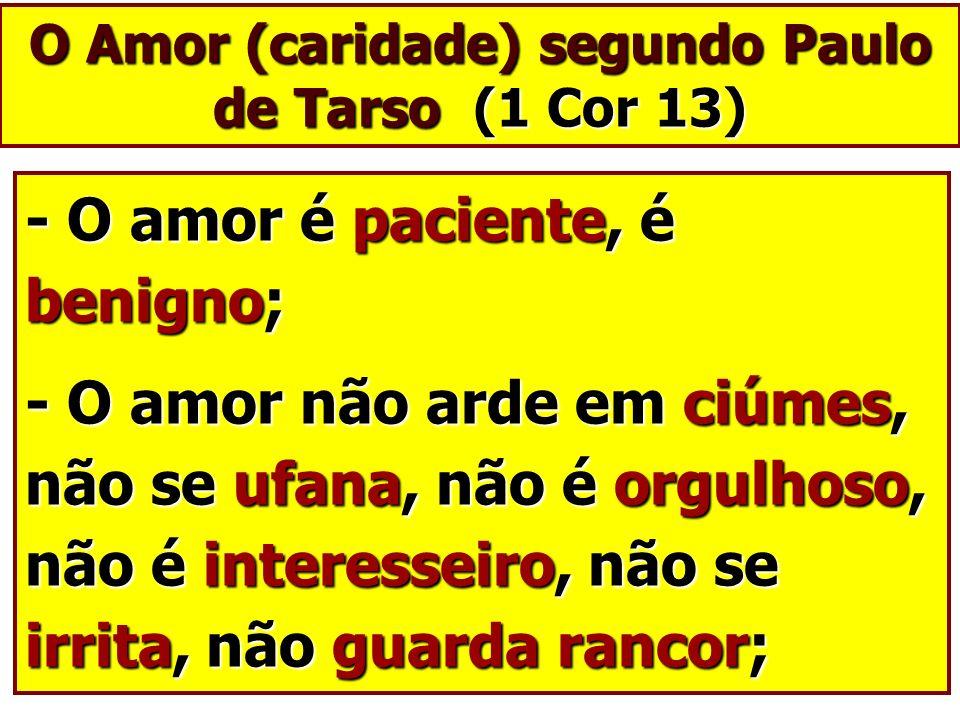O Amor (caridade) segundo Paulo de Tarso (1 Cor 13)