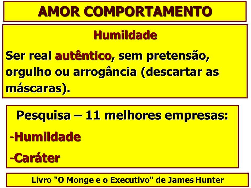 AMOR COMPORTAMENTO Pesquisa – 11 melhores empresas: Humildade Caráter