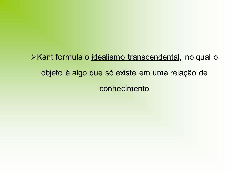 Kant formula o idealismo transcendental, no qual o objeto é algo que só existe em uma relação de conhecimento
