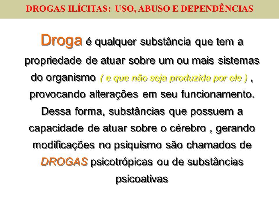 DROGAS ILÍCITAS: USO, ABUSO E DEPENDÊNCIAS