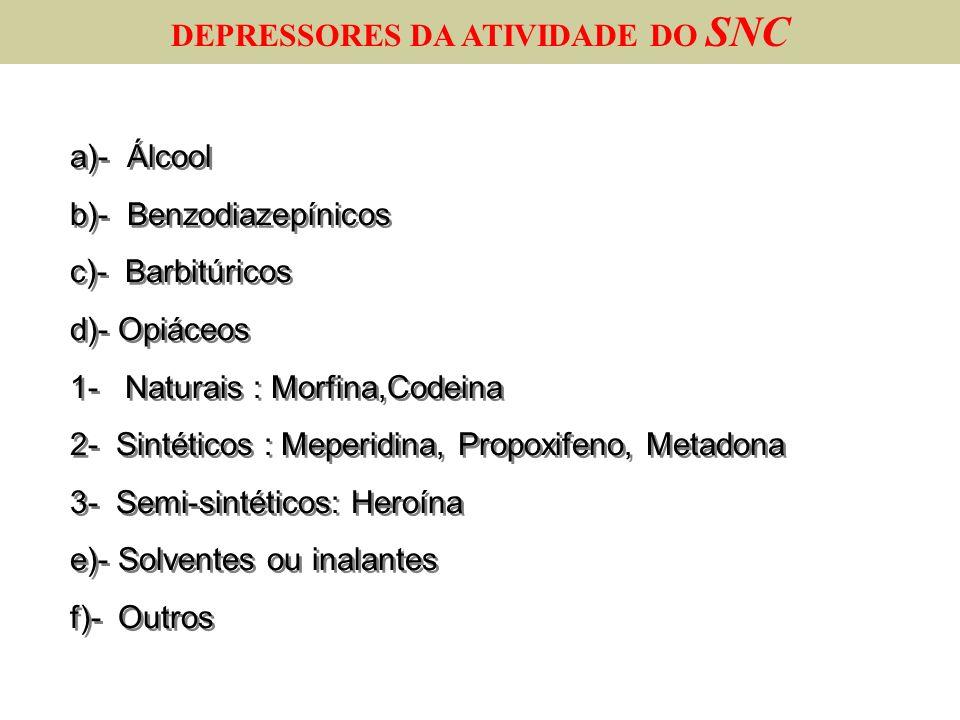 DEPRESSORES DA ATIVIDADE DO SNC