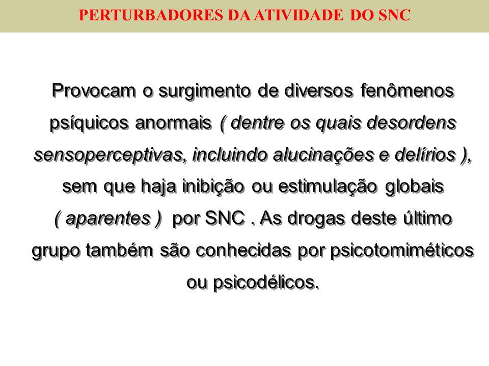 PERTURBADORES DA ATIVIDADE DO SNC