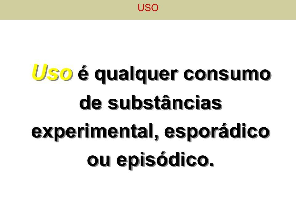 USO Uso é qualquer consumo de substâncias experimental, esporádico ou episódico.