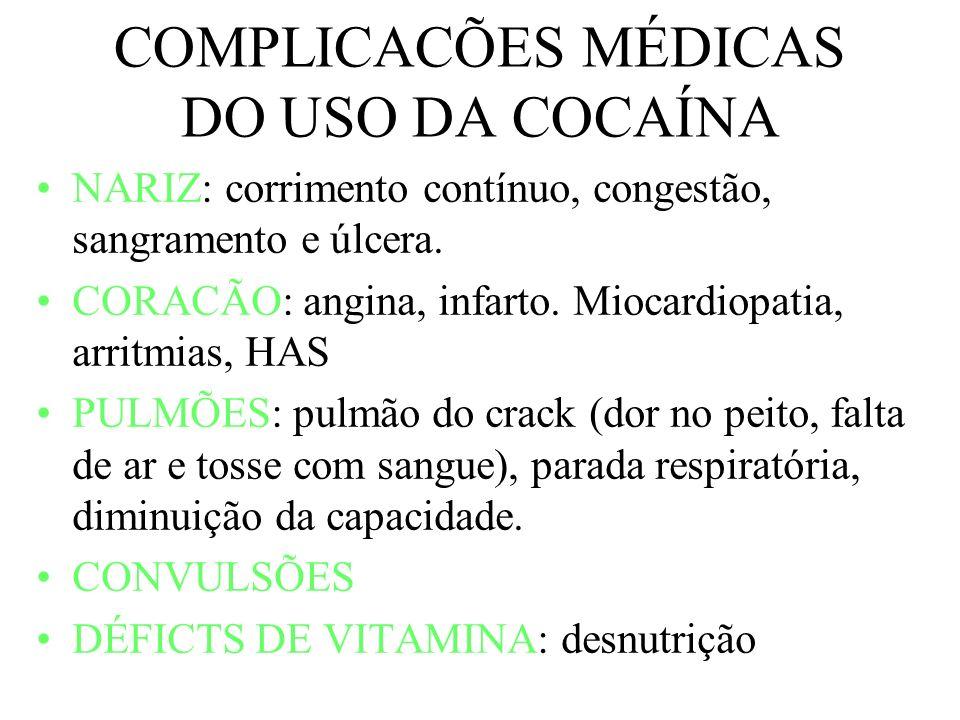 COMPLICACÕES MÉDICAS DO USO DA COCAÍNA