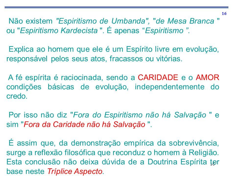 Não existem Espiritismo de Umbanda , de Mesa Branca ou Espiritismo Kardecista . É apenas Espiritismo .