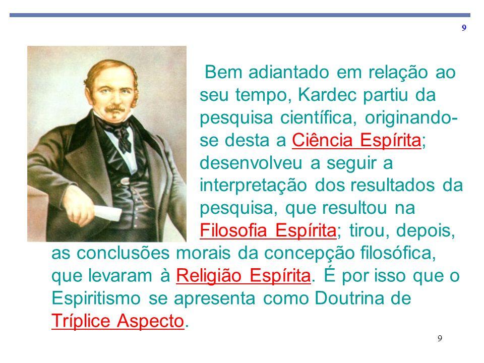 Bem adiantado em relação ao seu tempo, Kardec partiu da pesquisa científica, originando-se desta a Ciência Espírita; desenvolveu a seguir a interpretação dos resultados da pesquisa, que resultou na Filosofia Espírita; tirou, depois,