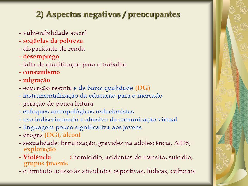 2) Aspectos negativos / preocupantes