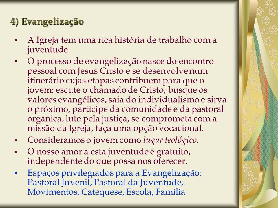 4) Evangelização A Igreja tem uma rica história de trabalho com a juventude.