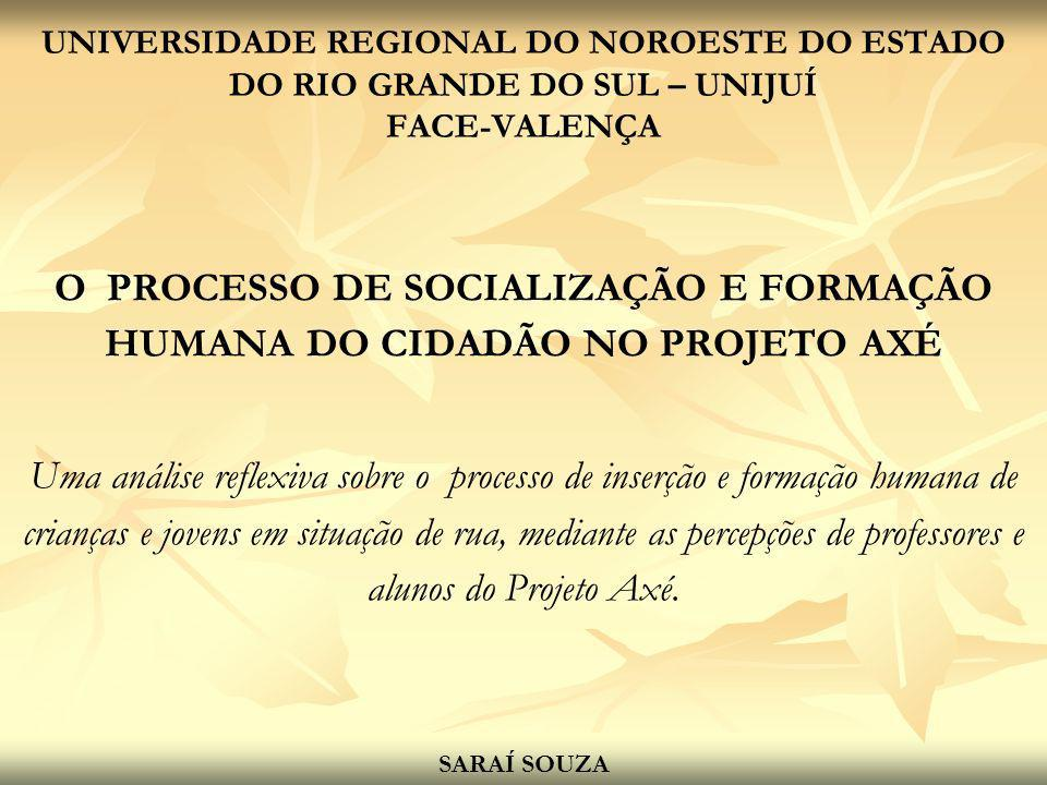 O PROCESSO DE SOCIALIZAÇÃO E FORMAÇÃO HUMANA DO CIDADÃO NO PROJETO AXÉ