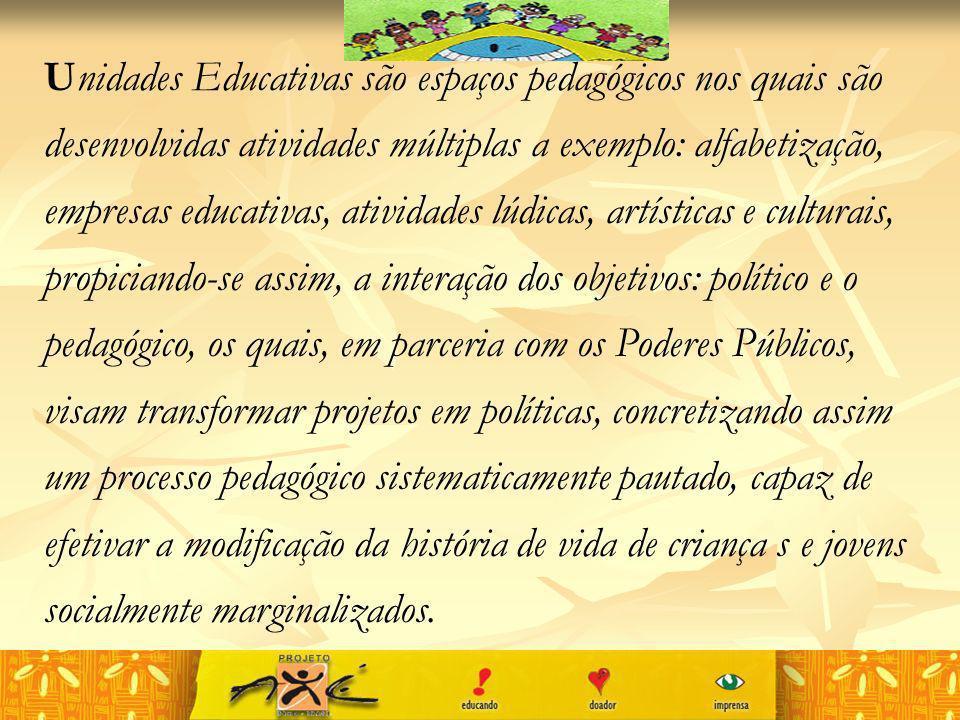 Unidades Educativas são espaços pedagógicos nos quais são desenvolvidas atividades múltiplas a exemplo: alfabetização, empresas educativas, atividades lúdicas, artísticas e culturais, propiciando-se assim, a interação dos objetivos: político e o pedagógico, os quais, em parceria com os Poderes Públicos, visam transformar projetos em políticas, concretizando assim um processo pedagógico sistematicamente pautado, capaz de efetivar a modificação da história de vida de criança s e jovens socialmente marginalizados.