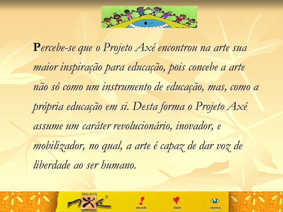 Percebe-se que o Projeto Axé encontrou na arte sua maior inspiração para educação, pois concebe a arte não só como um instrumento de educação, mas, como a própria educação em si.