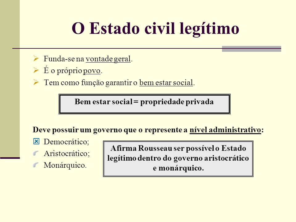 O Estado civil legítimo