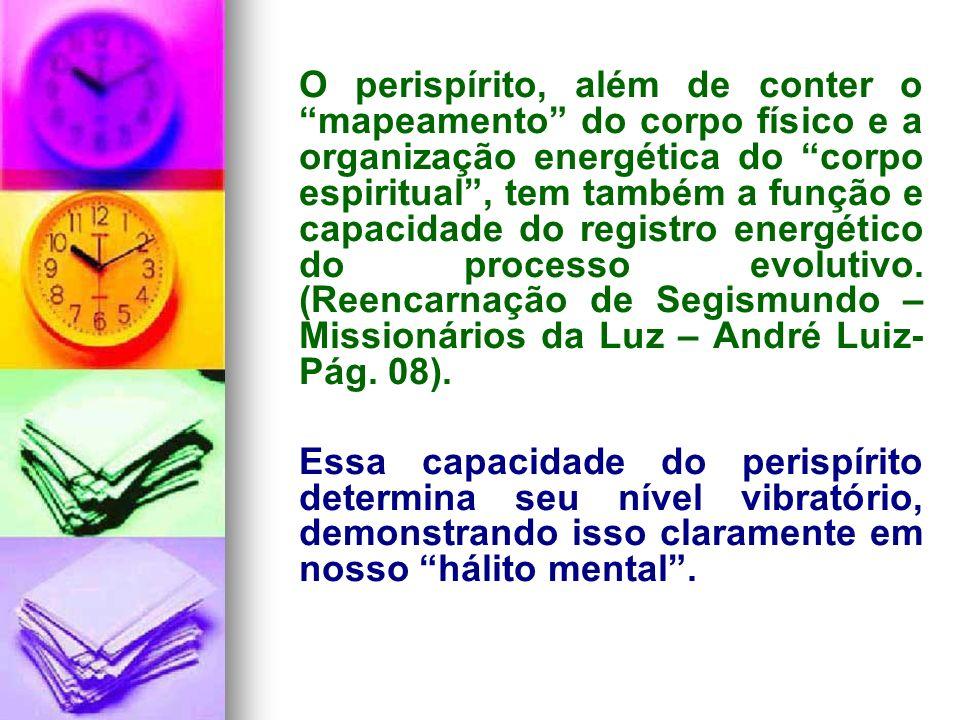 O perispírito, além de conter o mapeamento do corpo físico e a organização energética do corpo espiritual , tem também a função e capacidade do registro energético do processo evolutivo. (Reencarnação de Segismundo – Missionários da Luz – André Luiz- Pág. 08).