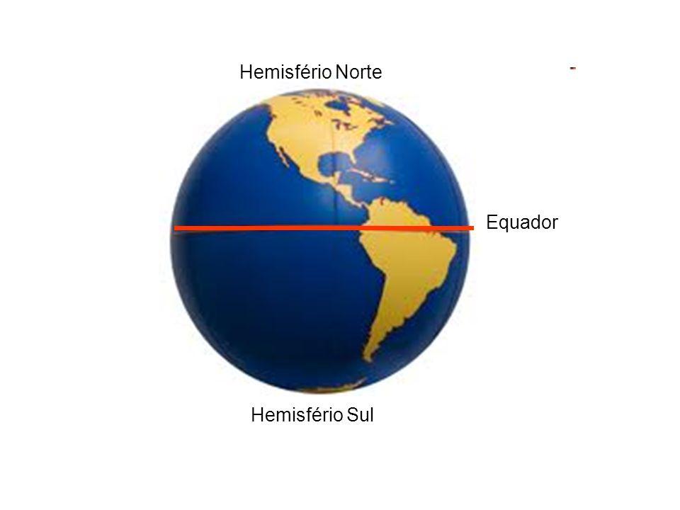 Hemisfério Norte Equador Hemisfério Sul