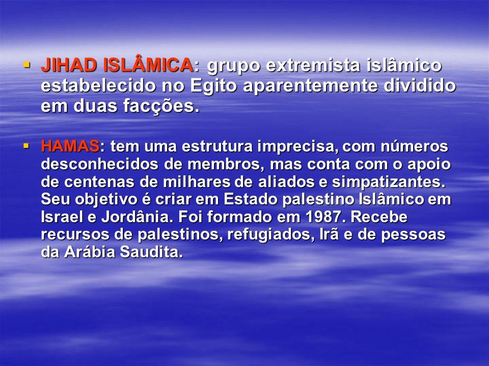 JIHAD ISLÂMICA: grupo extremista islâmico estabelecido no Egito aparentemente dividido em duas facções.