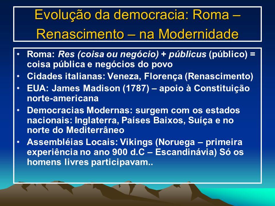 Evolução da democracia: Roma – Renascimento – na Modernidade
