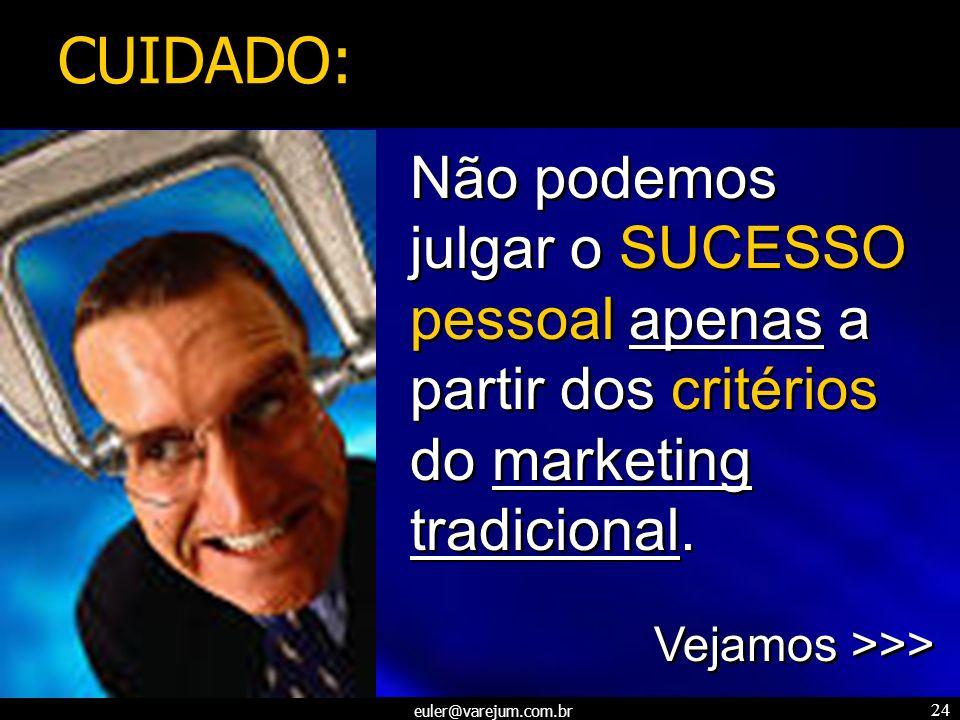 CUIDADO: Não podemos. julgar o SUCESSO pessoal apenas a partir dos critérios. do marketing tradicional.