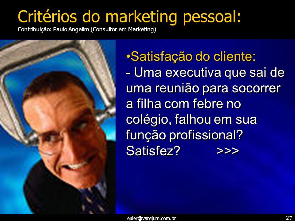 Critérios do marketing pessoal: