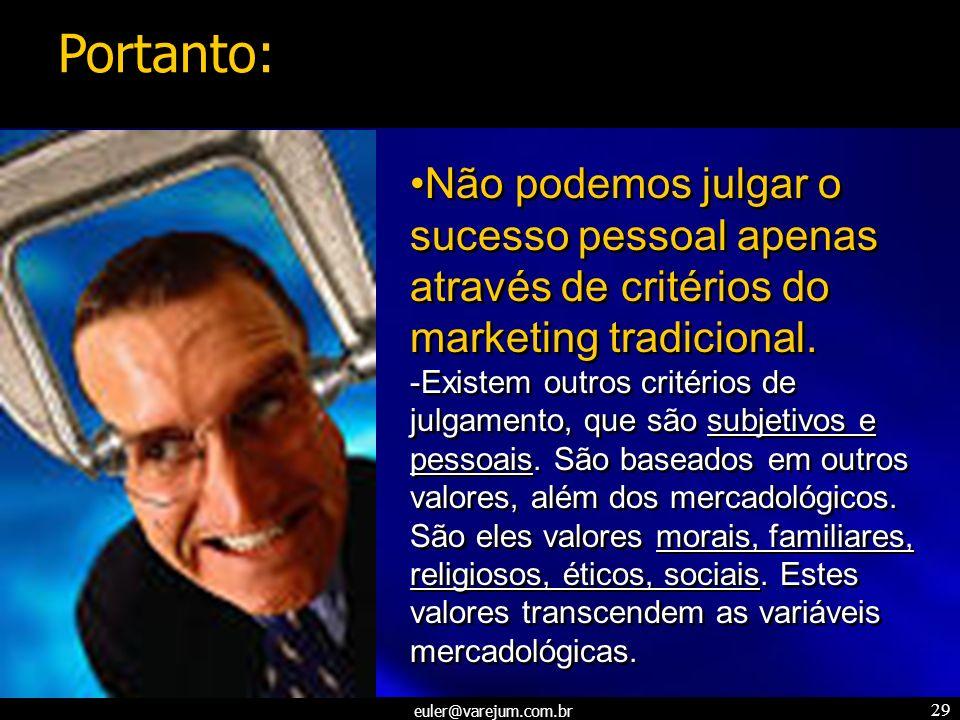 Portanto: Não podemos julgar o sucesso pessoal apenas através de critérios do marketing tradicional.