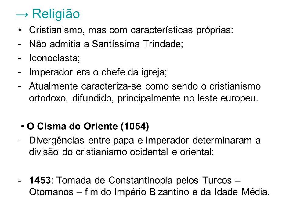 → Religião Cristianismo, mas com características próprias:
