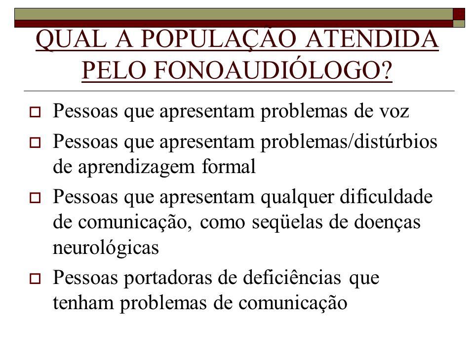 QUAL A POPULAÇÃO ATENDIDA PELO FONOAUDIÓLOGO