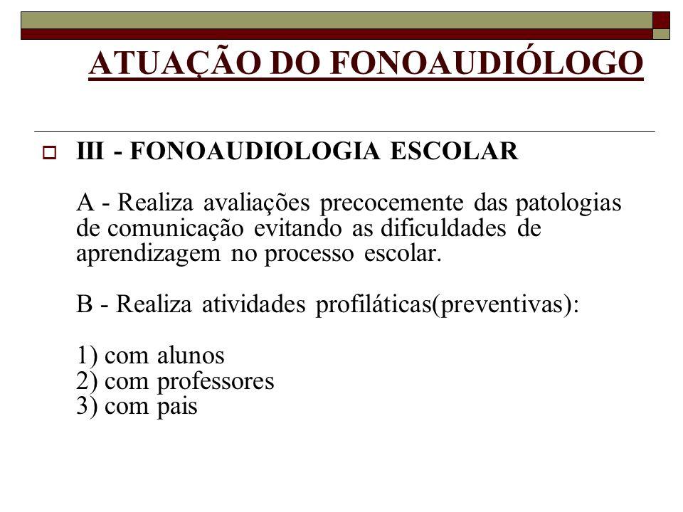 ATUAÇÃO DO FONOAUDIÓLOGO