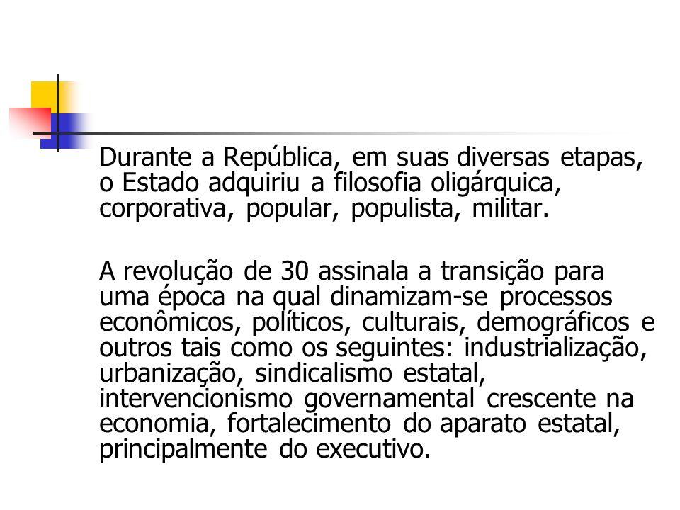 Durante a República, em suas diversas etapas, o Estado adquiriu a filosofia oligárquica, corporativa, popular, populista, militar.