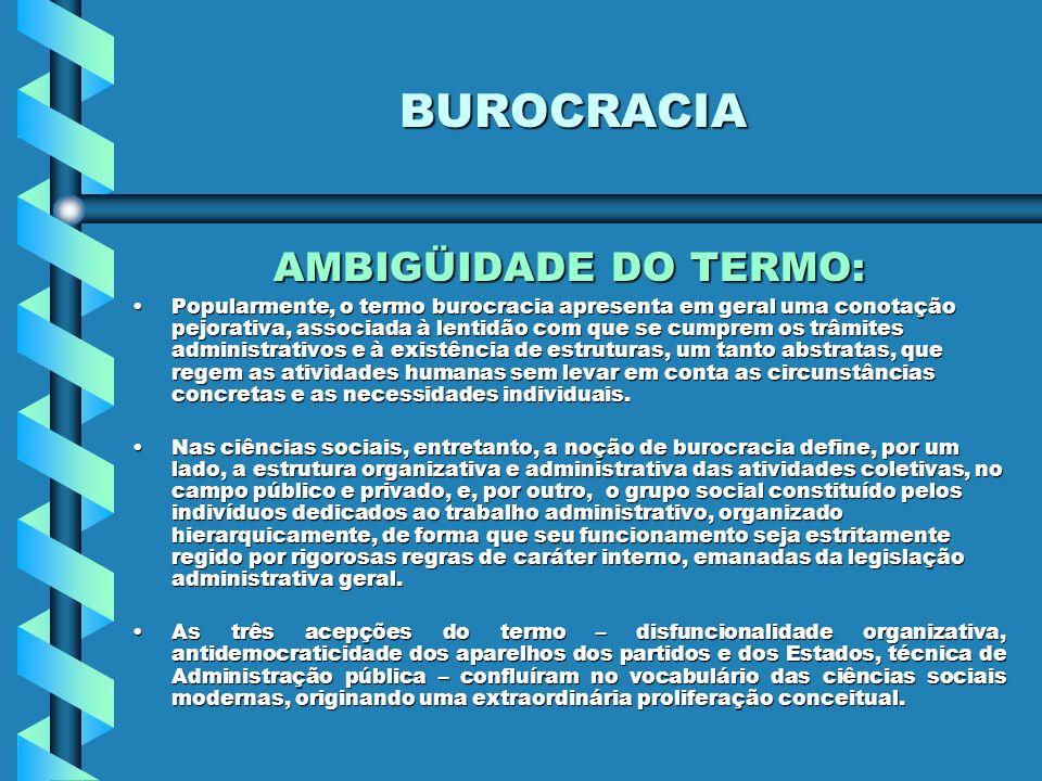 BUROCRACIA AMBIGÜIDADE DO TERMO: