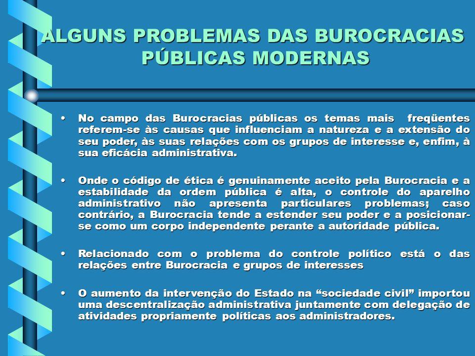 ALGUNS PROBLEMAS DAS BUROCRACIAS