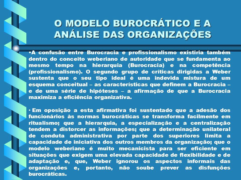 O MODELO BUROCRÁTICO E A ANÁLISE DAS ORGANIZAÇÕES