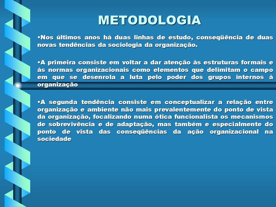 METODOLOGIA Nos últimos anos há duas linhas de estudo, conseqüência de duas novas tendências da sociologia da organização.