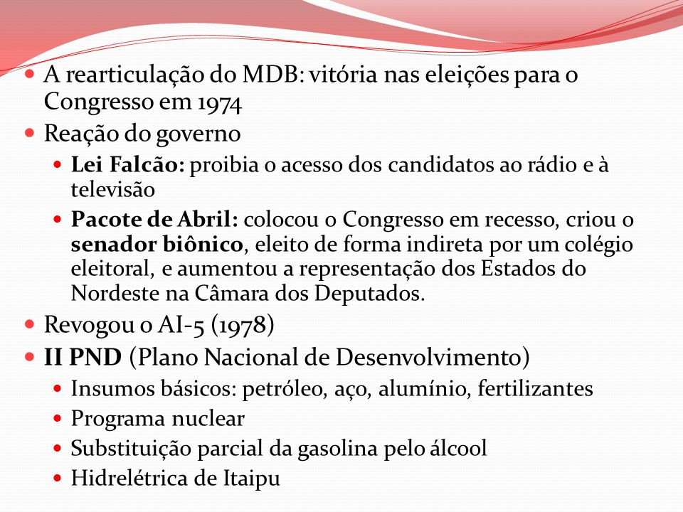 A rearticulação do MDB: vitória nas eleições para o Congresso em 1974
