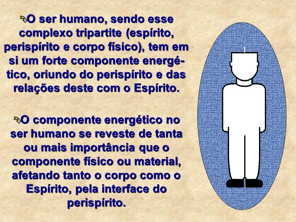 O ser humano, sendo esse complexo tripartite (espírito, perispírito e corpo físico), tem em si um forte componente energé-tico, oriundo do perispírito e das relações deste com o Espírito.