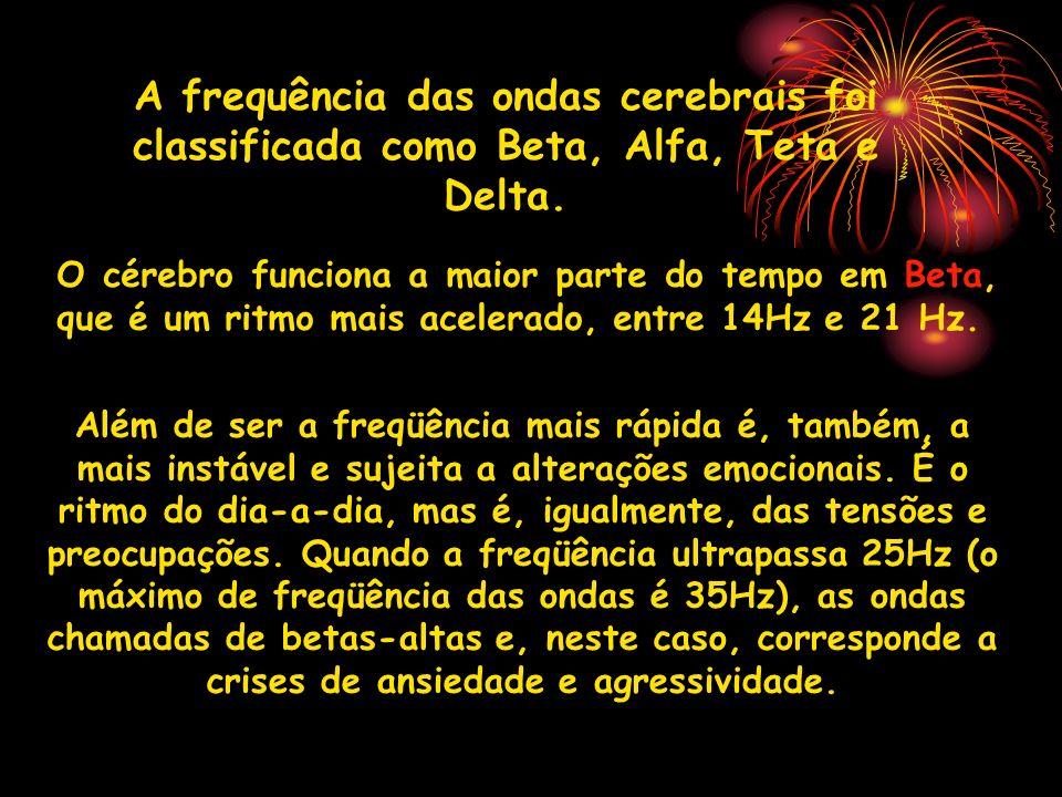 A frequência das ondas cerebrais foi classificada como Beta, Alfa, Teta e Delta.