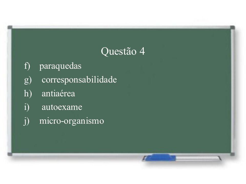Questão 4 f) paraquedas g) corresponsabilidade h) antiaérea