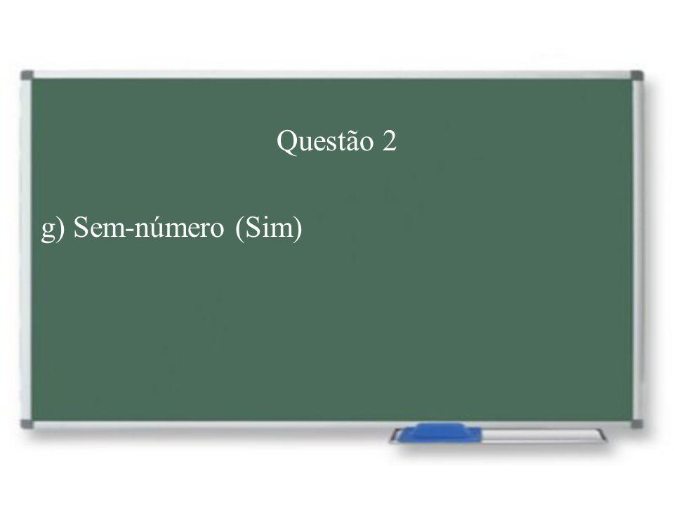 Questão 2 g) Sem-número (Sim)